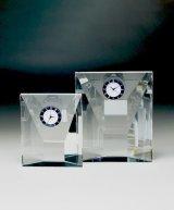 時計付 クリスタル製 メモリアルオブジェ DT-22 / 【サンドブラスト彫刻】 または 【UVカラー印刷】
